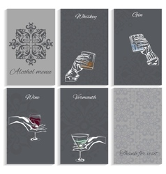 Set pages alcohol menu man woman hand holding vector