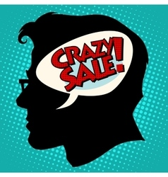 Crazy sale thoughts head vector