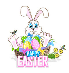 Cute easter bunny with a basket of colorful eggs vector