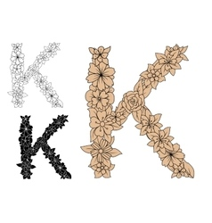 Dainty floral letter k with decorative foliage vector