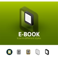 E-book icon in different style vector