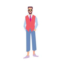 elegant bearded man in pants and waistcoat vector image