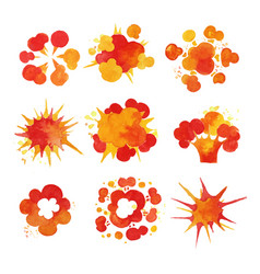 Explosions set fire burst effect watercolor vector