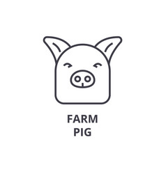 farm pig line icon outline sign linear symbol vector image vector image