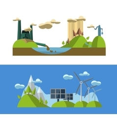 Flat design concept with icons of ecology green vector image vector image