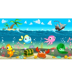 Funny scene under the sea vector image vector image