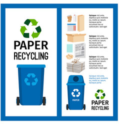 garbage blue container info with paper vector image vector image