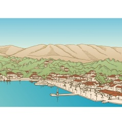 Greek village vector