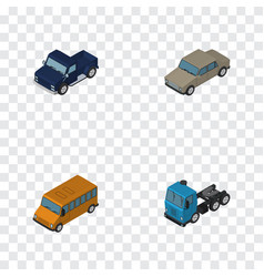 Isometric automobile set of suv auto truck and vector