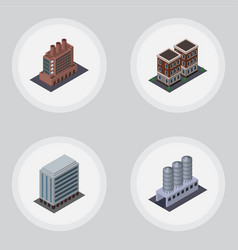 Isometric building set of office water storage vector