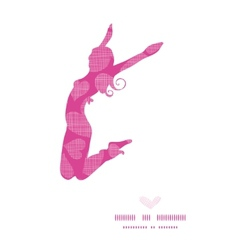 Jumping girl silhouette frame with pink lace vector image