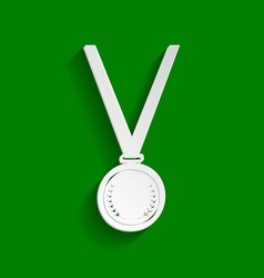 Medal simple sign paper whitish icon with vector