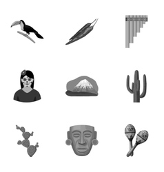 Mexico country set icons in monochrome style big vector
