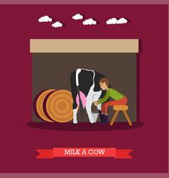 Milker milking cow in flat vector