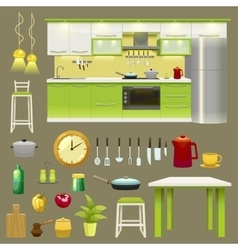 Modern kitchen interior icon set vector
