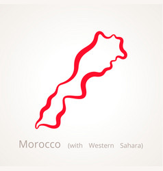 Outline map of morocco with western sahara marked vector