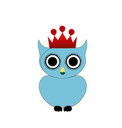 Owl with crown and crown vector image vector image