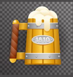 realistic 3d wooden beer mug foam poster vector image vector image