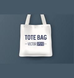 realistic white empty textile tote bag vector image