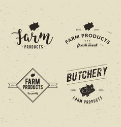 set of retro styled butchery logo templates vector image