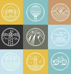 set of travel badges in trendy linear style vector image