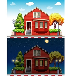 Single house at daytime and nighttime vector