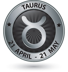 Taurus zodiac silver sign taurus symbol vector image vector image