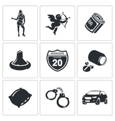 Vice squad icons set vector
