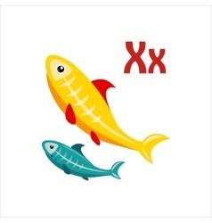 X-ray tetra funny alphabet animal vector