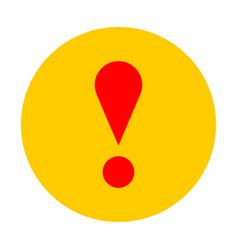 Yellow circle exclamation mark icon warning sign vector