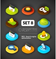 Isometric flat icons set 8 vector image