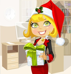 Business lady in Santa hat vector image