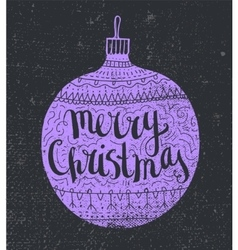 Hand drawn christmas card lilac decorated vector