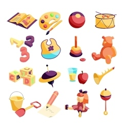 Kindergarten items icons set carftoon style vector
