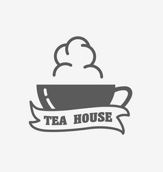 Tea house logo label or sign design concept with vector