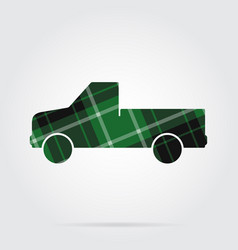 Green black tartan icon - pickup with a flatbed vector