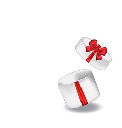 Open gift box with red bow isolated on white vector