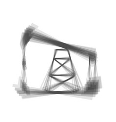 Oil drilling rig sign  gray icon shaked at vector