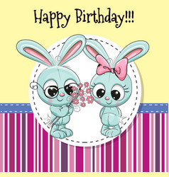 Greeting card with two rabbits vector
