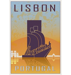 Lisbon vintage poster vector image