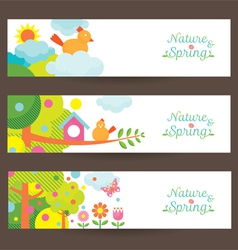 Spring season object icons banner vector