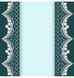 Background with lace ornamented with pearls vector