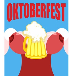 Woman in a corset with a mug of beer for oktoberfe vector
