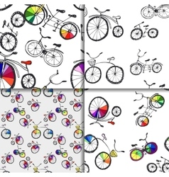 Cute doodle bicycle set vector