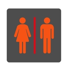 Toilets rounded square button vector