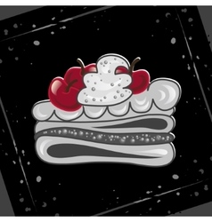 Cake with cherries on an abstract background vector image