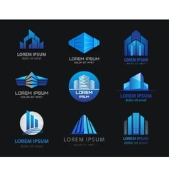 Set of 3d blue office buildings houses vector
