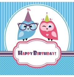 Blue birthday card with two owls vector