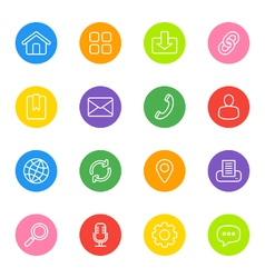 Line web icon set on colorful circle vector