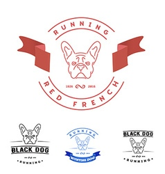 Set of logos with french bulldog and tape nanoline vector